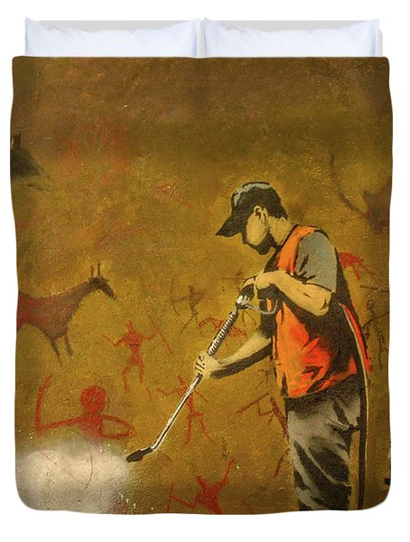 Duvet Cover featuring the photograph Banksy's Cave Painting Cleaner by Gigi Ebert
