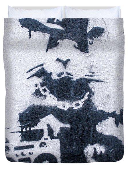 Duvet Cover featuring the photograph Banksy's Gansta Rat by Gigi Ebert