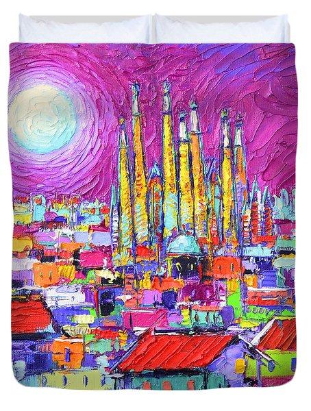 Barcelona Mystic Full Moon Over Sagrada Familia Abstract Cityscape Knife Painting Ana Maria Edulescu Duvet Cover