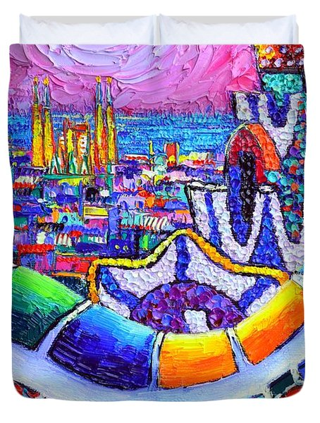 Barcelona Park Guell Colorful Night Textural Impasto Knife Oil Painting Abstract Ana Maria Edulescu Duvet Cover