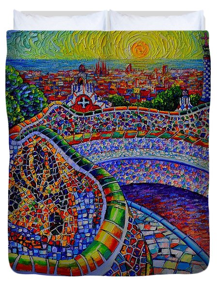 Barcelona Park Guell Sunrise Modern Impressionist Impasto Knife Oil Painting Ana Maria Edulescu Duvet Cover