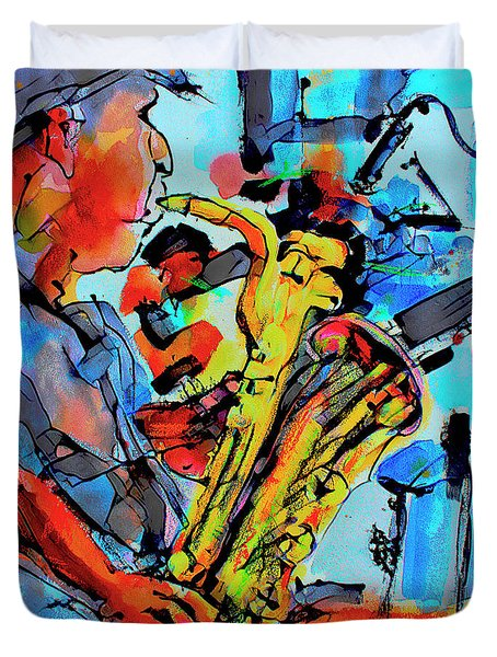 Baritone Sax Player Modern Music Art  Duvet Cover