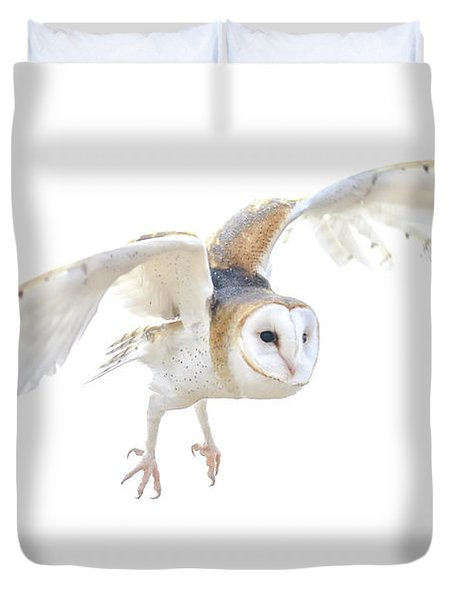 Barn Owl In Flight Duvet Cover