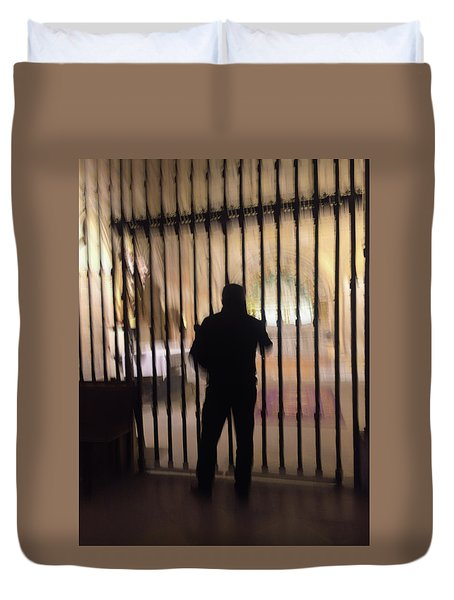 Duvet Cover featuring the photograph Barred From Heaven by Alex Lapidus