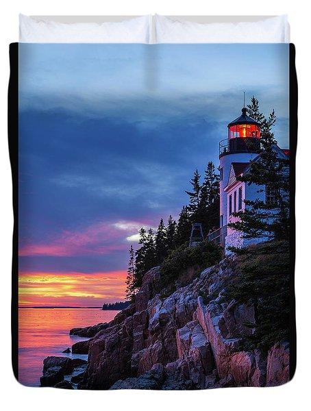 Bass Harbor Head Lighthouse At Twilight Duvet Cover