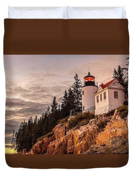 Duvet Cover featuring the photograph Bass Harbor Lighthouse by Dan Sproul