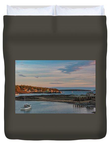 Bass Harbor Sunset Duvet Cover