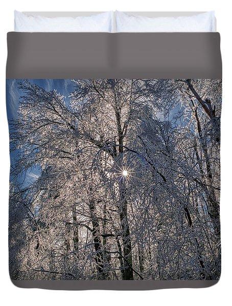 Bass Lake Trees Frozen Duvet Cover