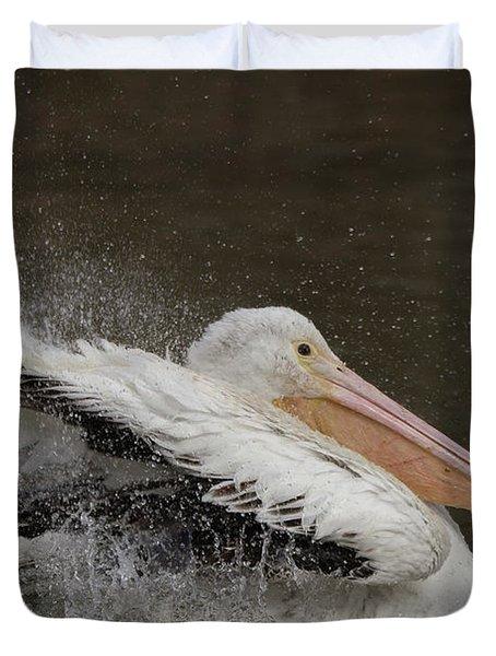 Bathing Pelican Duvet Cover