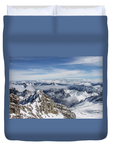 Duvet Cover featuring the photograph Bavarian Alps, Zugspitze by Dawn Richards