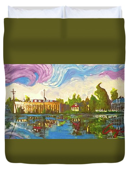 Duvet Cover featuring the painting Bayou Saint John One by Amzie Adams