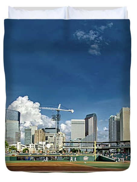 Bbt Baseball Charlotte Nc Knights Baseball Stadium And City Skyl Duvet Cover