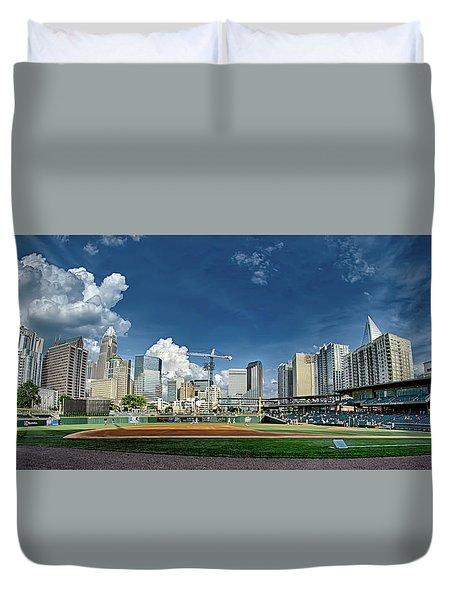 Bbt Baseball Charlotte Nc Knights Baseball Stadium And City Skyl Duvet Cover