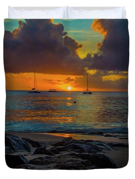 Beach At Sunset Duvet Cover