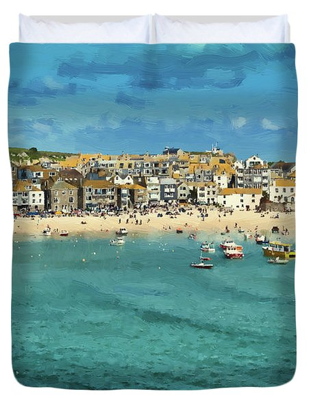 Beach From Across Bay St. Ives, Cornwall, England Duvet Cover