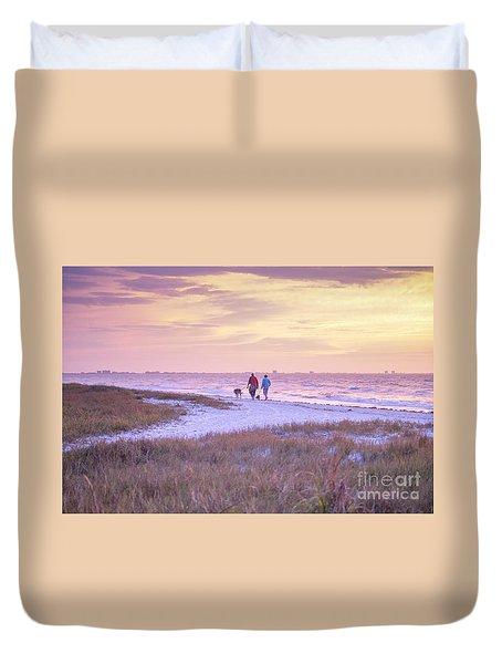 Sunrise Stroll On The Beach Duvet Cover