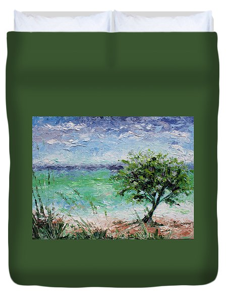 Duvet Cover featuring the painting Beach Tree by William Love