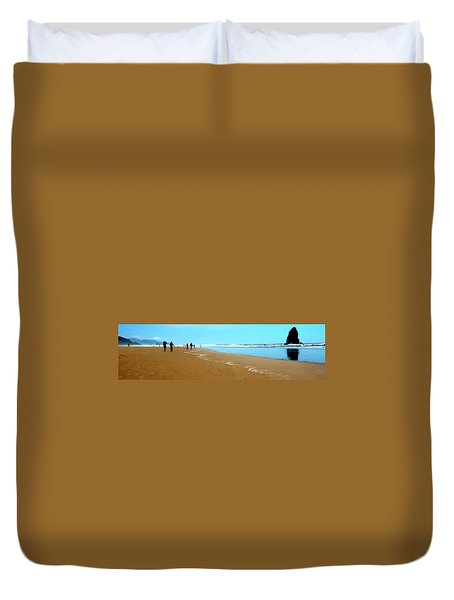 Duvet Cover featuring the photograph Beach Walk Wide by Jerry Sodorff