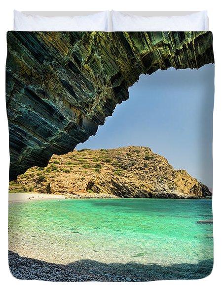 Almiro Beach With Cave Duvet Cover