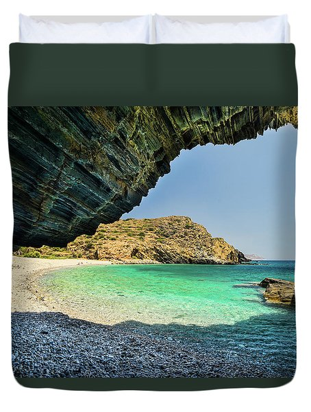 Almiro Beach With Cave Duvet Cover
