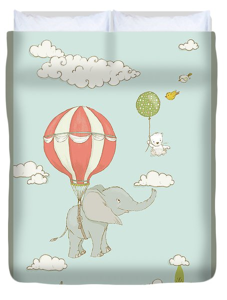 Duvet Cover featuring the painting Floating Elephant And Bear Whimsical Animals by Matthias Hauser