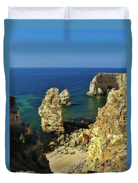 Beautiful Marinha Beach From The Cliffs Duvet Cover