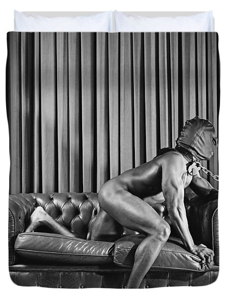 Beautiful Naked Man With Mask Posing On A Sofa Duvet Cover