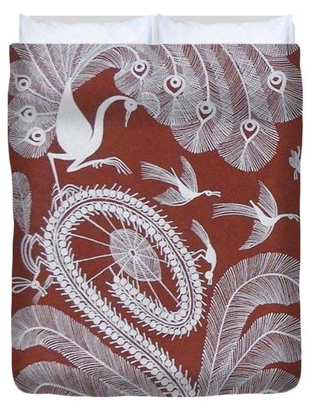 Beautiful Peacock Handpainted Warli Tribal Art Duvet Cover
