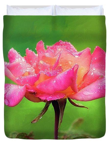 Beautiful Two-tone Rose In The Rain Duvet Cover