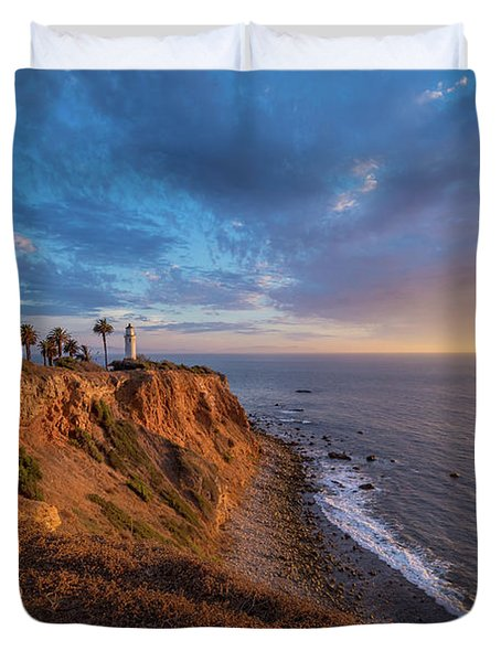 Beautiful Point Vicente Lighthouse At Sunset Duvet Cover