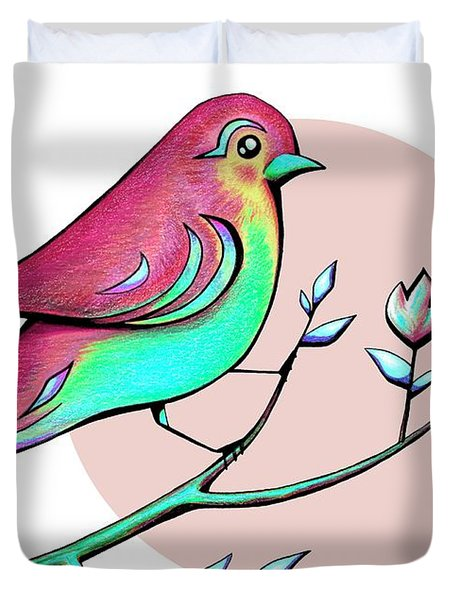Beautiful Spring Morning Bird And Flowers Duvet Cover