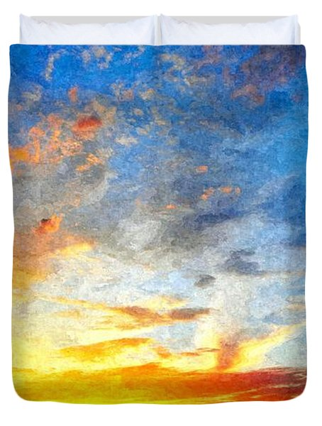 Beautiful Sunset In Landscape In Nature With Warm Sky, Digital A Duvet Cover