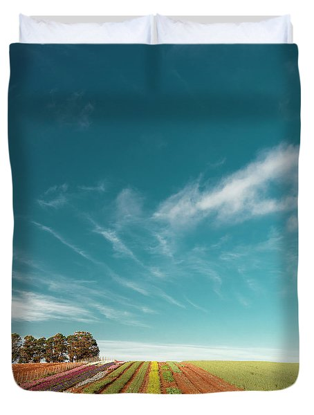Duvet Cover featuring the photograph Beautiful Tulip Farm At The Table Cape In Tasmania. by Rob D