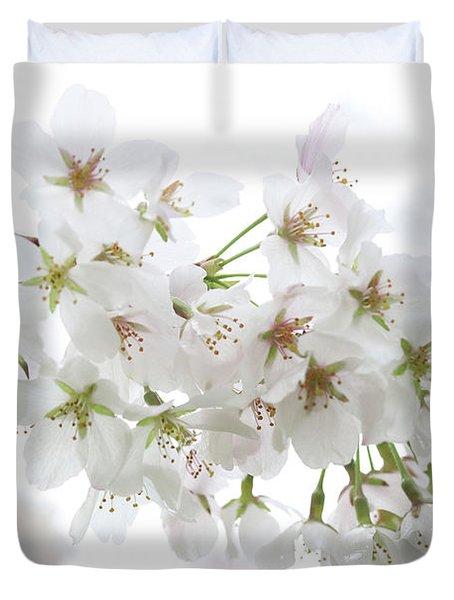 Beautiful White Cherry Blossoms Duvet Cover