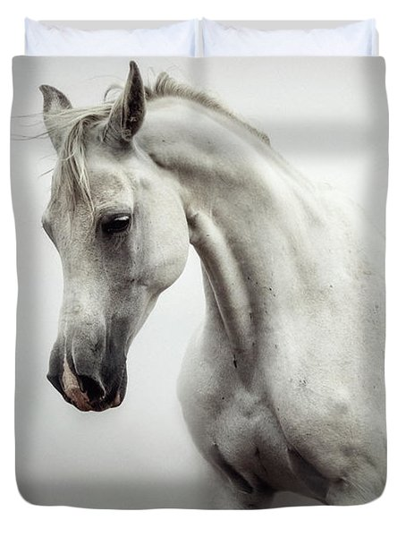 Duvet Cover featuring the photograph Beautiful White Horse On The White Background by Dimitar Hristov