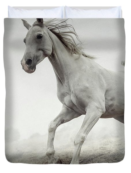 Duvet Cover featuring the photograph Beautiful White Horse Running In Mist by Dimitar Hristov