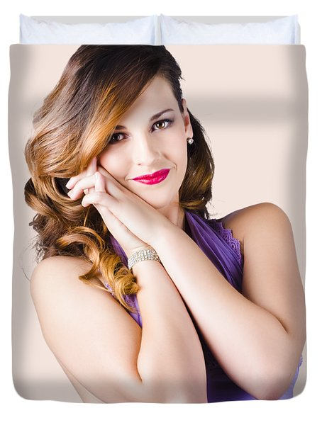 Beautiful Woman In Purple Dress Duvet Cover