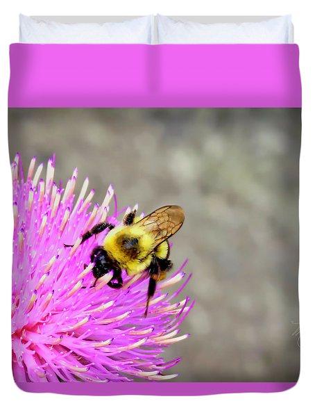 Bee On Pink Bull Thistle Duvet Cover