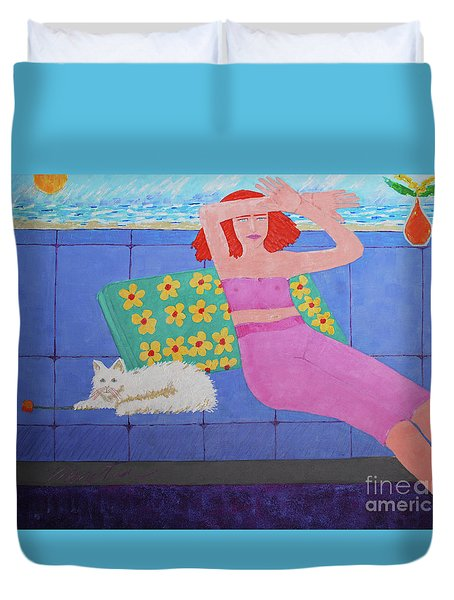 A Woman And Ralph Her Cat Duvet Cover