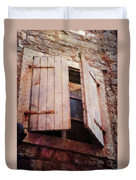 Duvet Cover featuring the photograph Behind Shutters by Randi Grace Nilsberg