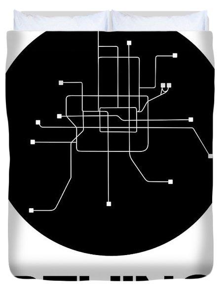 Beijing Black Subway Map Duvet Cover