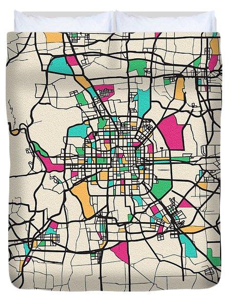 Beijing, China City Map Duvet Cover