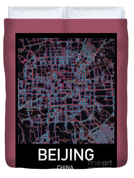 Beijing City Map Duvet Cover