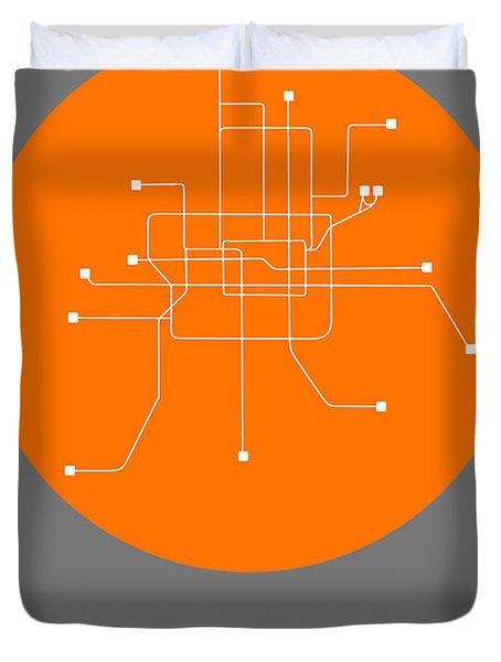 Beijing Orange Subway Map Duvet Cover