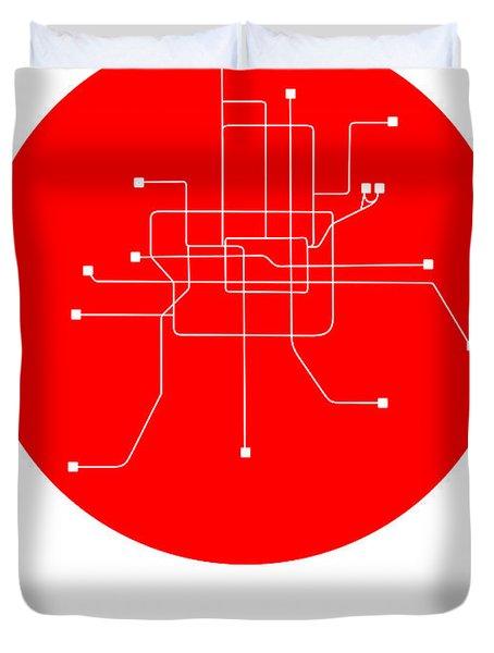 Beijing Red Subway Map Duvet Cover