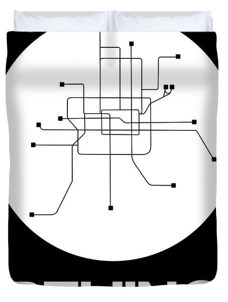 Beijing White Subway Map Duvet Cover