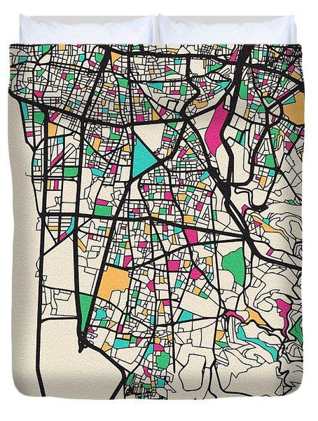 Beirut, Lebanon City Map Duvet Cover