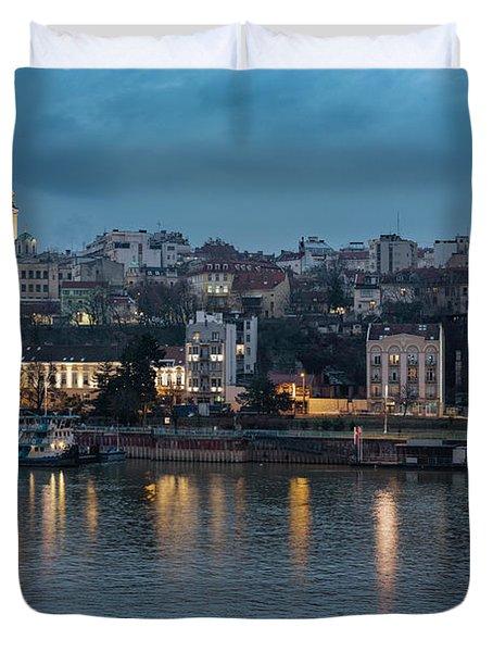 Belgrade Skyline And Sava River Duvet Cover