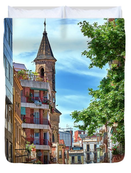 Duvet Cover featuring the photograph Bell Tower And Apartments In Barcelona by Eduardo Jose Accorinti