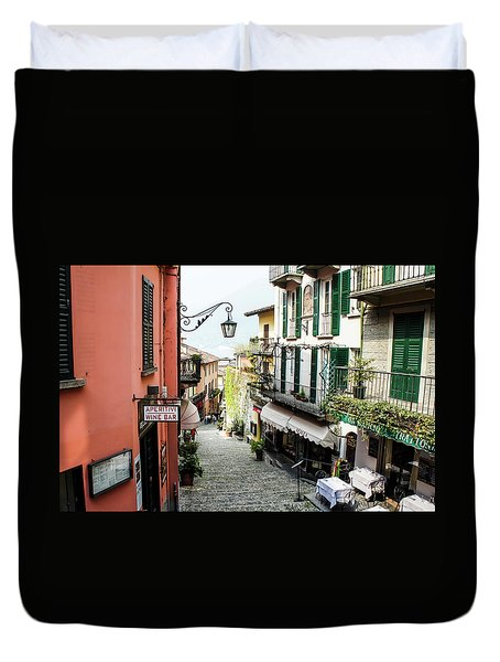 Duvet Cover featuring the photograph Bellagio Steet, Italy by Dawn Richards